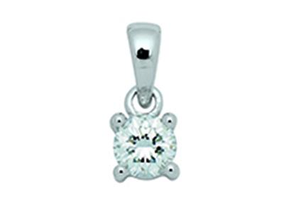 Pendentif Or gris 18k diamants 4 griffes 025ct