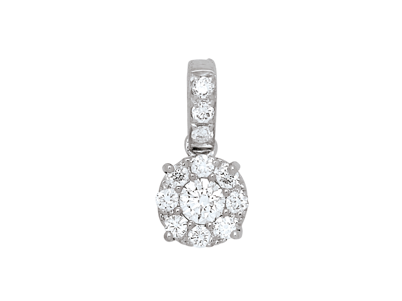 Pendentif Diamants sertis illusion 0,16ct, Or Gris 18k