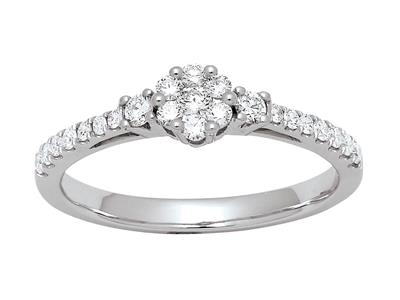 Bague solitaire accompagné serti illusion, diamants 0,38ct, doigt 54, Or gris 18k