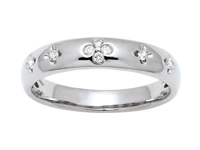 Alliance motif Fleurs, diamants 0,08ct, Or gris 18k, doigt 54