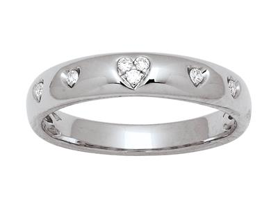 Alliance motif Coeurs, diamants 0,07ct, Or gris 18k, doigt 56