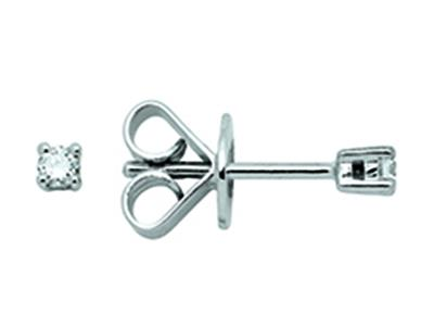 Boucles doreilles 4 griffes, diamants 0,08ct, Or gris 18k