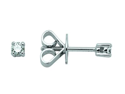 Boucles doreilles 4 griffes, diamants 0,14ct, Or gris 18k