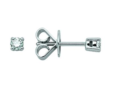 Boucles doreilles 4 griffes, diamants 0,18ct, Or gris 18k