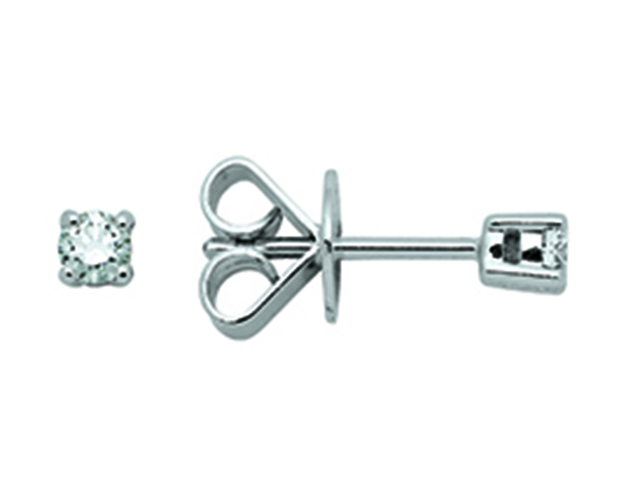 Boucles d'oreilles Or gris 18k, diamants 4 griffes 0,18ct