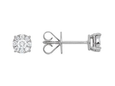 Boucles doreilles diamants sertis illusion 0,27ct, Or gris 18k
