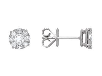 Boucles doreilles diamants sertis illusion 0,59ct, Or gris 18k