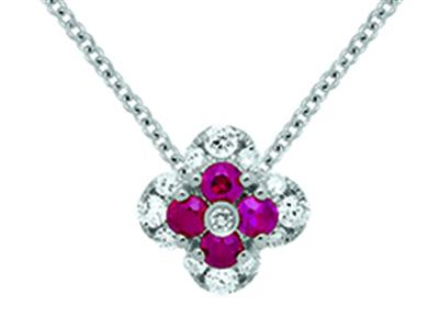 Pendentif Fleur Or gris 18k diamants 013ct rubis 016ct