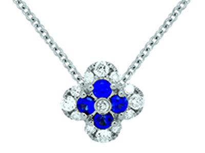 Pendentif Fleur Or gris 18k diamants 013ct saphirs 016ct
