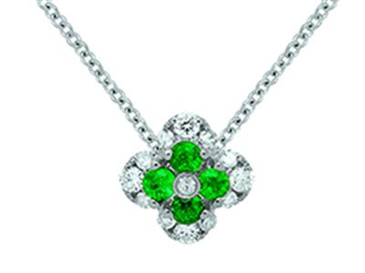 Pendentif Fleur Or gris 18k diamants 013ct meraudes 016ct
