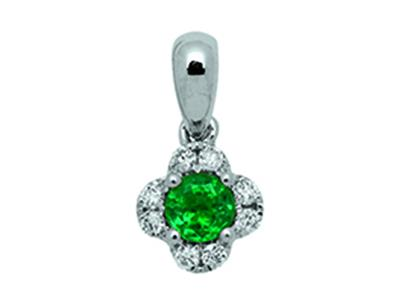Pendentif Fleur Or gris 18k diamants 010ct meraude 025ct