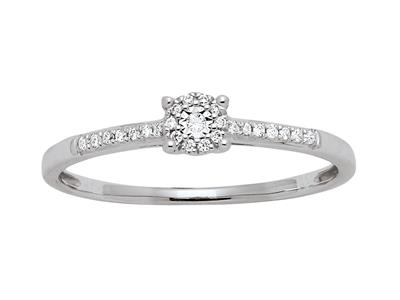 Bague solitaire accompagné serti illusion, diamants 0,08ct, doigt 50, Or gris 18k