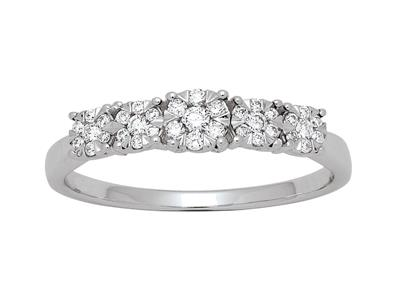 Demi-Alliance dégradée, serti illusion diamants 0,21ct, Or gris 18k, doigt 56