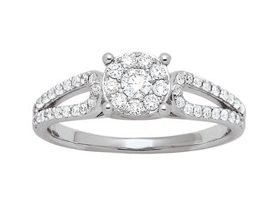 Bague solitaire accompagné corps double serti illusion, diamants 0,40ct, doigt 56, Or gris 18k