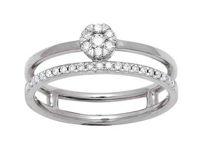 Bague solitaire et alliance, diamants 0,20ct, Or gris 18k, doigt 54