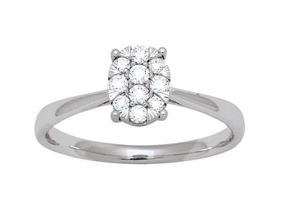 Bague solitaire serti illusion ovale, diamants 0,19ct, doigt 52, Or gris 18k