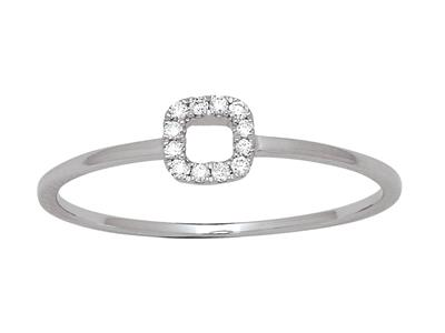 Bague Carré diamants 0,05ct, Or gris 18k, doigt 52