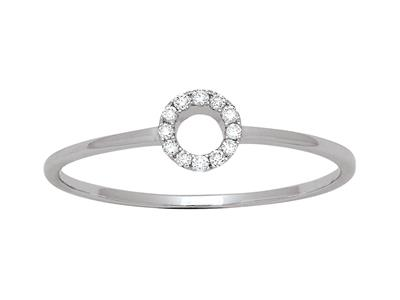Bague Cercle diamants 0,05ct, Or gris 18k, doigt 56