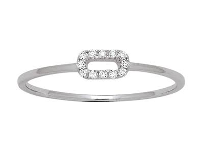 Bague Ovale diamants 0,05ct, Or gris 18k, doigt 54