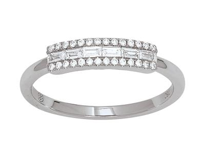 Bague ligne diamants 0,23ct, Or gris 18k, doigt 50