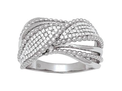 Bague lien diamants 0,29ct, Or gris 18k, doigt 52