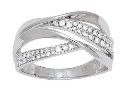 Bague croisée diamants 0,22ct, Or gris 18k, doigt 50
