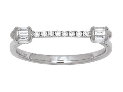 Bague demi-cercle diamants 0,22ct, Or gris 18k, doigt 56