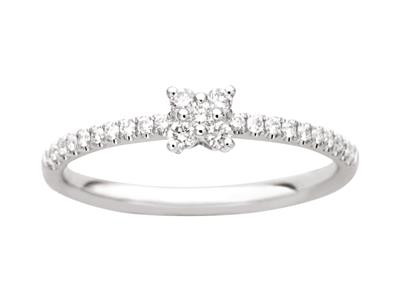 Bague petit carré, corps serti diamants 0,22ct, Or gris 18k, doigt 50