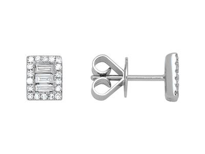 Boucles doreilles Rectangles, Diamants 0,25ct, Or gris 18k
