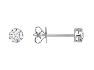 Boucles doreilles diamants sertis illusion 0,16ct , 4,5 mm, Or gris 18k