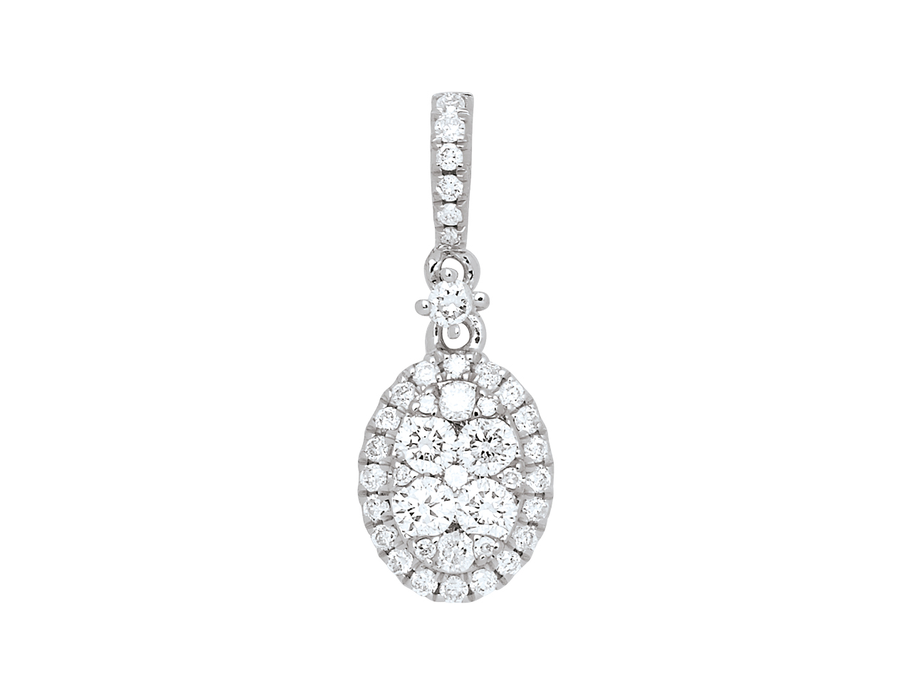 Pendentif ovale, Diamants 0,39ct serti illusion, Or Gris 18k