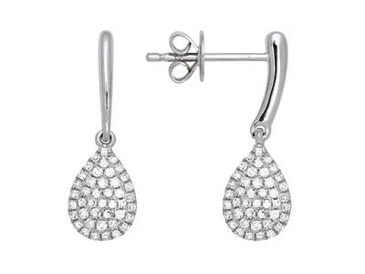 Boucles doreilles diamants 0,29ct, forme poire 10 mm, Or gris 18k