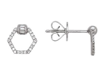 Boucles doreilles motif pentagone diamants ronds et baguettes 0,22ct, Or gris 18k