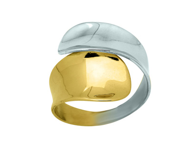 Bague incurve Or bicolore 18k