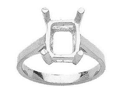 Bague 15377 serti 4 griffes pour pierre rectangle 10 x 8 mm, Or gris 800