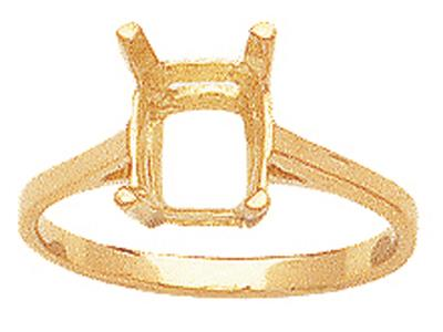 Bague serti 4 griffes pour pierre rectangle 14 x 10 mm, Or jaune 18k. Réf. 15380
