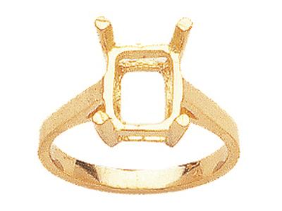 Bague 15377 serti 4 griffes pour pierre rectangle 10 x 8 mm, Or jaune 18k