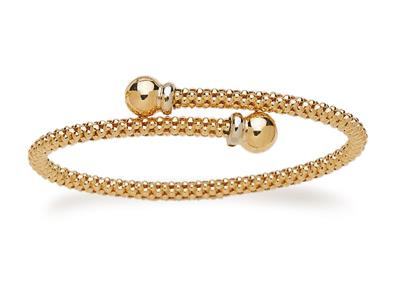 Bracelet Jonc résille 4 mm, Or Bicolore18k, 59 mm