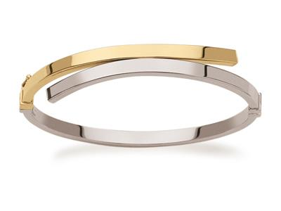 Bracelet Jonc décalé fil carré 3 mm, diamètre 59 mm, Or bicolore 18k