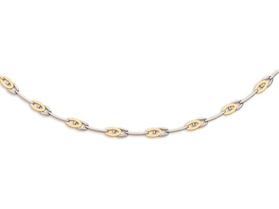 Collier double raquette 73 mm Or bicolore 18k 43 cm