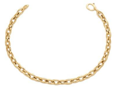 Collier grosses mailles ovales 11 mm, Or jaune 18k, 44,5 cm