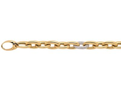 Bracelet mailles ovales, Or jaune, diamants 0,90 ct