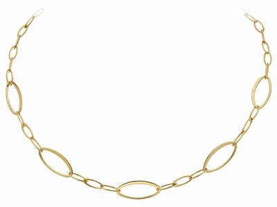 Collier Mailles Ovales alternes Or Jaune 44 cm