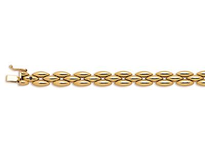 Bracelet articulé Grains de riz 3 rangs 8 mm, Or jaune 18k, 19,5 cm