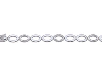 Bracelet mailles ovales évidées, Or gris, diamants 0,72 ct