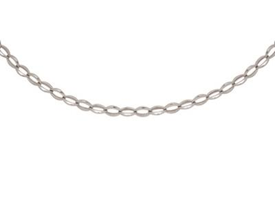 Collier mailles Ovales 8,5 mm, 45 cm, Or gris 18k