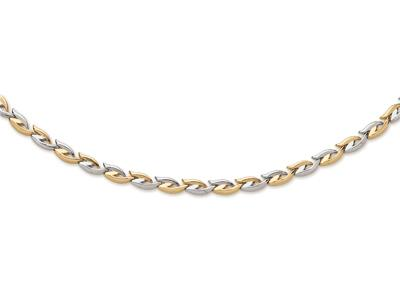 Collier Ptale 7 mm Or bicolore 18k 43 cm