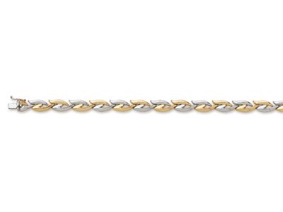Bracelet Pétale 7 mm, Or bicolore 18k, 18,5 cm