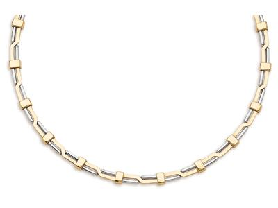 Collier dcal 7 mm Or bicolore 18k 43 cm
