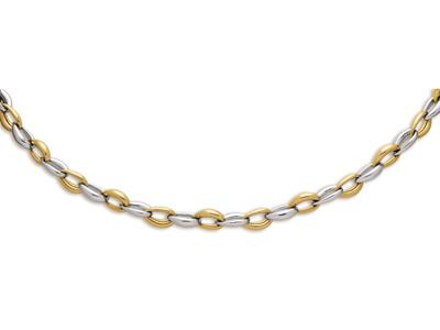 Collier Coque poire 97 mm Or bicolore 18k 45 cm
